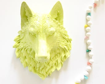 CITRON Large Faux Taxidermy Wolf Head wall mount wall hanging / faux animal head / faux taxidermie / wildlife wall art / Citron wall decor