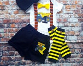 Tonka Contstruction Truck Inspired Birthday Bow Tie w Suspender Bodysuit w Shorts Baby Boy First Birthday Clothing Little Man Tie Outfit