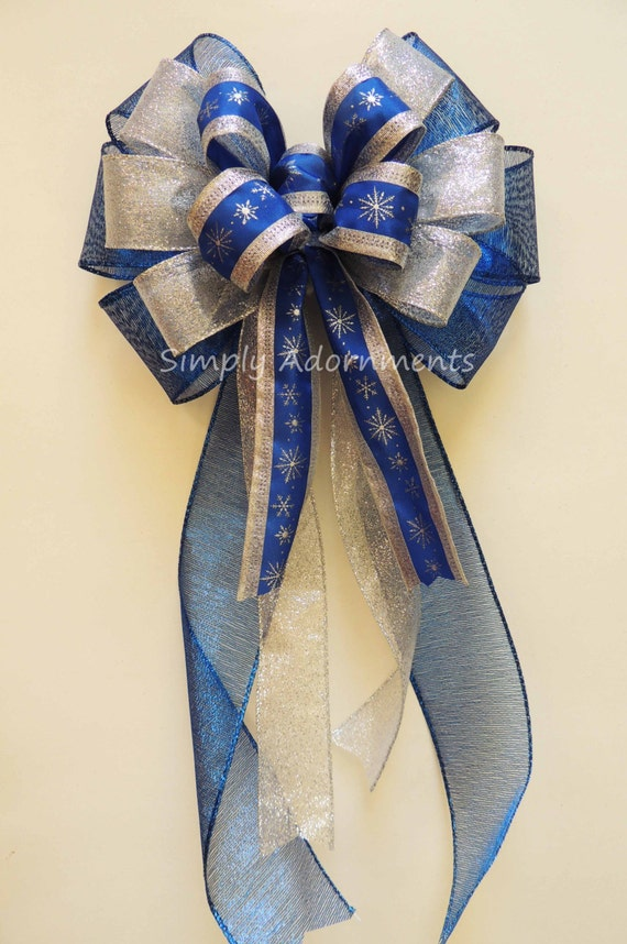 Blue Silver Snowflakes Bow Royal Blue Silver Snowflakes Winter Bow Hanukkah Decor Hanukkah gift bow White Blue Silver Snowflakes Wreath Bow