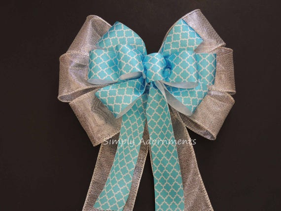 Turquoise Silver Wedding Pew Bow Silver Turquoise Spring Wreath bow Blue Silver Wedding Aisle Bow Ceremony Decor Silver Blue Door Hanger Bow