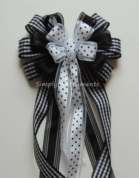 Black White Wreath Bow Black White Wedding Pew Bow Black White Check Dots Leopard Bow Shower Party Decor Birthday Party Packaging Gift Bow