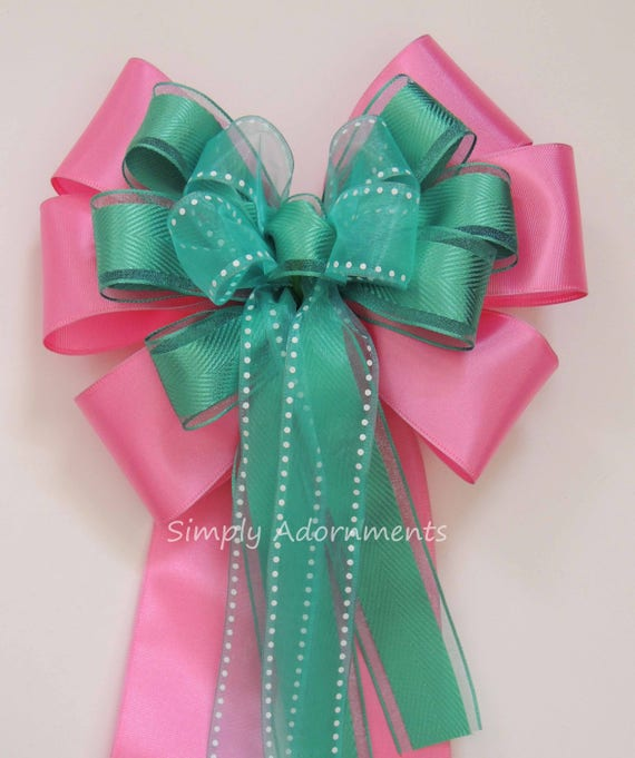 Pink Teal Green Bow Pink Green Wedding Pew Bow Pink Green Church Pew Bow Spring Wreath Bow Pink Green Birthday Party Decor Gift Wrap Bow