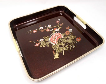 Vintage Lacquer Tray, Lacquered Serving Tray, Asian Floral, Black Red and Gold, Japanese Lacquerware