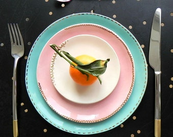 Gold Decorated Ceramic Minimalist Dessert Plate Set of 3 Unique Serving Plate Wedding Decoration Hand Built Turquoise Pink Ivory Color