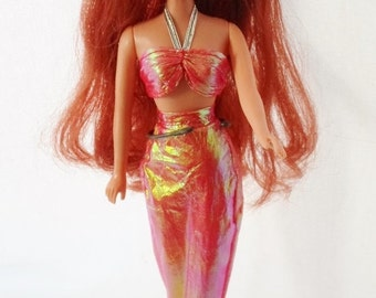 """ON SALE Vintage Creata Mermaid Doll, 1988, 11"""" Tall, Long Auburn Red Hair, 3 Piece Original Outfit, Plastic, Shiny, Doll, Toy, Collectible"""