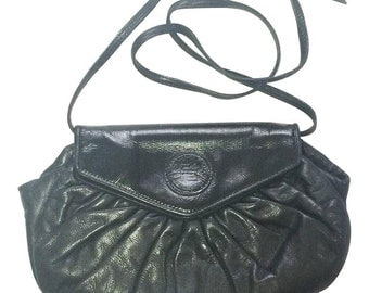 70's, 80's vintage FENDI black nappa leather oval round shape shoulder purse. Can be a clutch, pouch bag as well.