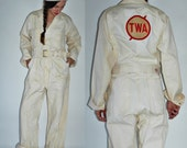 reserved  1940s / 1950s TWA Aviation Airline Owden Coveralls -  Mens M / Womens L