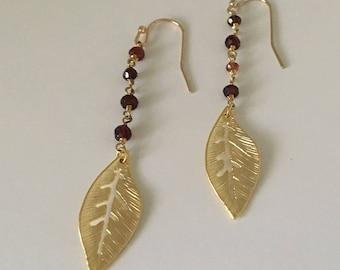 Boho Rosary Stone Feather Earrings // Bridesmaid Earrings