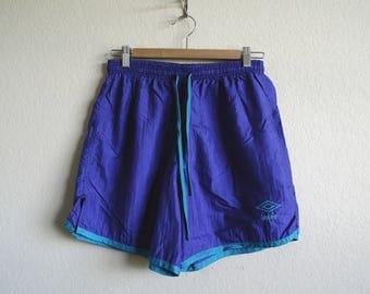 Vintage Umbro Shorts, Soccer Shorts, Mens Shorts, Womens Shorts, 90s Shorts, Athletic Shorts, Blue Violet, Neon Shorts, Made USA, Adult Med