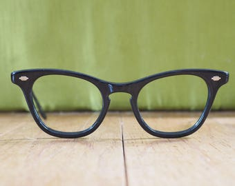 Vintage Cat eye Glasses 1960's Frames Ebony Eyeglasses With Decorated Aluminium Temples New Old Stock Made In USA Large Size 46-20