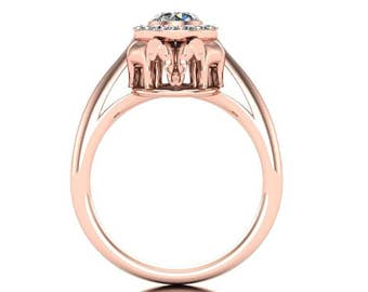Elephant Engagement Ring in 14k Rose Gold with Diamond Center and Diamond Halo