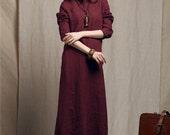 maxi linen shirt in purple, black, gray; maxi linen dress, long kaftan dress, maxi shirt dress, longsleeve dress, winter dress, formal gown