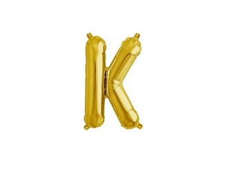 """Letter K - Gold 16"""" Mylar Letter Balloon, Wedding, Bridal Shower, 1st Birthday, Photo Prop, Name Banner, Baby Shower, Baby Name, Party"""