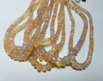 Ethiopian Clear Welo Opal High Quality Faced Rondelle Graduating Beads Strand 3mm to 6mm