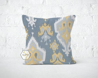 Yellow Ikat Pillow Cover - Saffron Ikat - 22, 24, 26 and More Sizes - Zipper Closure- ec246