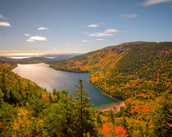Maine Landscape Photography Print - Acadia National Park - Jordan Pond - New England Autumn MetalPrint Option 11x14 16x20 20x30 24x36 30x40