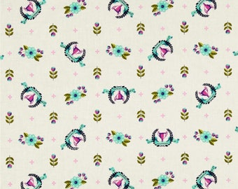 Tula Pink, 1/2 YD - Slow & Steady Winner's Circle, Trophies, Blue Raspberry - Quilting Fabric, By the Half Yard