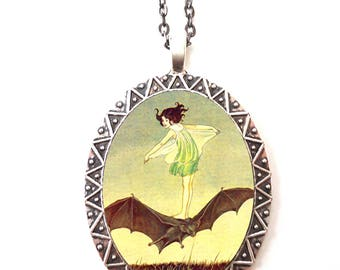 Girl Riding Bat Necklace Pendant Silver Tone - Bat Rider Goth Children's Storybook Fairy Tale
