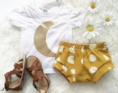 Bohemian Babies mustard moon phase shorties//Gender neutral shorts//Baby bloomers//Toddler shorts//Diaper Cover//0-3 months to 5/6