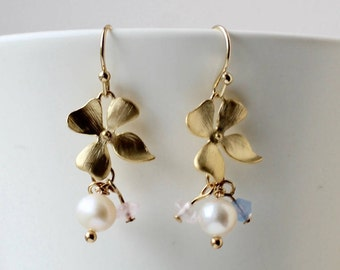 Gold hydrangea flower and pearl charm earrings - romantic, bridal jewelry, wedding earrings, modern, bridesmaids, hostess, maid of honour