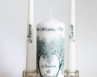 Wedding Unity candle - Ceremony candles -  customized - personalised candle set - Love tree