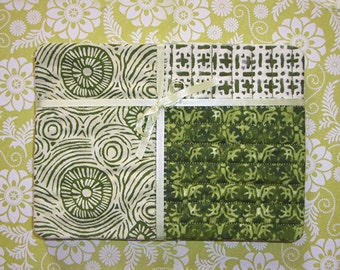 Green Swirly Fabric Snack Mat Mug Rug Set of 4