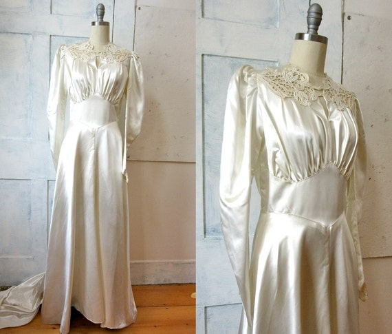 40s satin wedding dress train slipper satin lace bodice for Slipper satin wedding dress