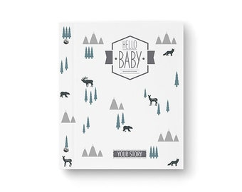 BRAND NEW // Baby Book, Baby Memory Book, TRIBAL, Black and White, Pregnancy Book, Personalized Baby Book, The Sweet Rhino