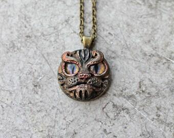 Polymer Clay Jewelry, Small Pendant, Animal Necklace, Alternative Jewelry, Fantasy Jewelry, Cat Necklace, Animal Jewelry