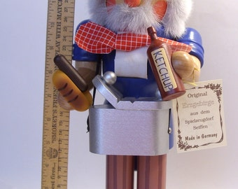 Erzgebirge Hot Dog Vendor Nutcracker Snow Mountain Collection Made in Germany