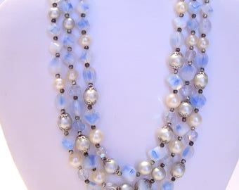 Blue Bead Three Strand Pearl and Aurora Borealis Necklace