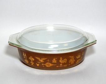 Vintage Pyrex Oval Cinderella Casserole Lid American Heritage. 24K Gold Design Cinderella Eagle Weathervane Vintage Kitchenware