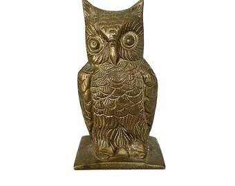 Vintage Brass Owl Figurine Woodland Decor Bird Statue Mid Century Paperweight
