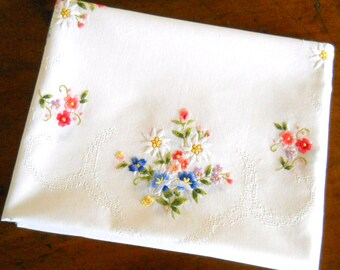 vintage embroidered floral tablecloth vintage white tablecloth embroidered tablecloth multicolor shabby chic