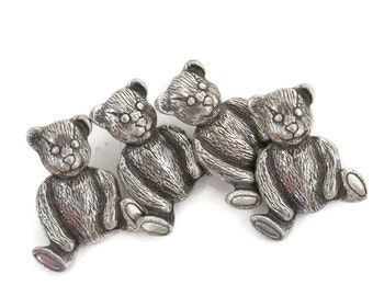 Teddy Bear Buttons Hand Crafted Pewter by Danforth Set of 4  Middlebury Vermont USA