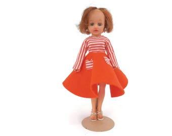 Little Miss Revlon Doll by Ideal  Orange Felt Circle Skirt Need TLC
