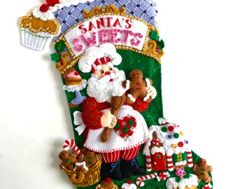 Christmas Stocking Finished Bucilla Stocking Personalized Felt Stocking Family Stocking Childs Stocking Kids Stocking  Santa's Sweet Shop
