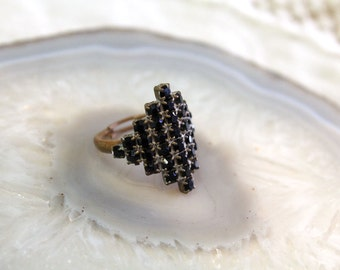 Vintage Jewelry Sample Ring // Adjustable Black Crystal Ring // Statement Ring // Ring Sample // Brass Crystal Ring