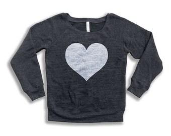 Love Heart Sweatshirt - Women's Wideneck Tri-Blend Slouch Sweatshirt