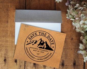 Save the Date, Mountain Save the Date, Mountain Wedding, Kraft Paper Save the Date, Rustic Wedding