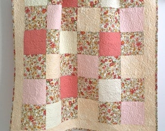 Adorable Baby Girl Quilt with Floral Watercolor Prints Pink Peach Yellow Coral Ivory