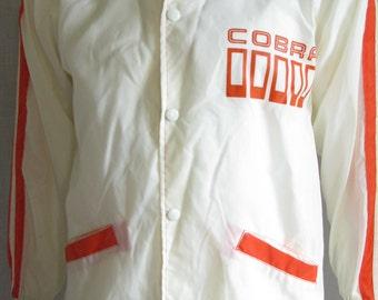Cobra Orange White Nylon Striped Racer Hollaway Jacket Mens Small 60s 70 VIntage GoGo Mod Retro Made in the USA