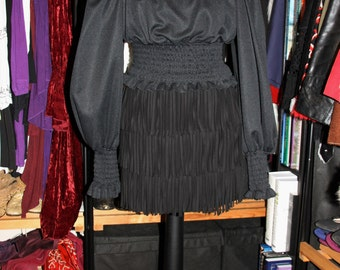 Pirate Radio-Black 60s 70s Square Neck Poet Sleeve Pirate Wench Elasticated Waist Top