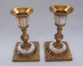 RESERVED for Mary Gorgeous Candleholders - Mother of Pearl and Brass Candlesticks - Vintage Home Decor