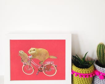 School Run - A5 digital print - Beavers cycling - bicycle - red bike
