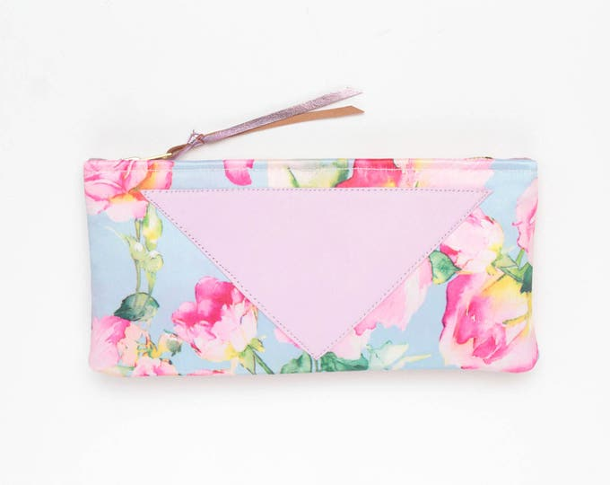 FLARE 132 / Cotton pouch-natural leather pouch-floral watercolor roses-pink pastel blue-make up bag-cosmetic purse-bag organizer