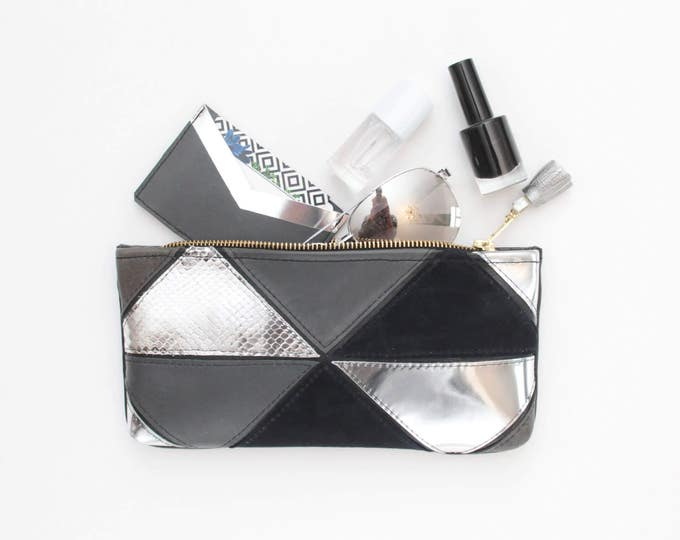 Natural leather pouch-makeup bag-small purse-zipper pouch-mixed metallics-brush case-geometric clutch-black silver white /MINI PRISM 35