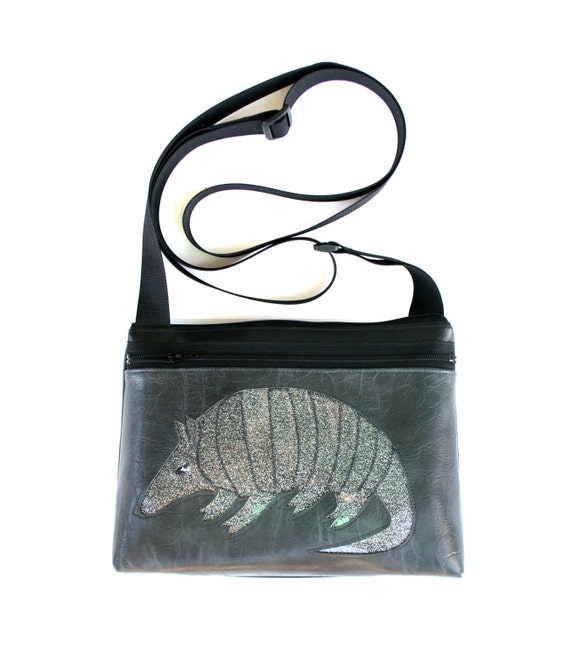 Armadillo, silver glitter vinyl, grey, boxy cross body, vegan leather, zipper top
