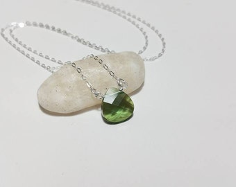 Beautiful Olivine Crystal Briolette and Sterling Silver Necklace - Bridesmaid Gift, Wedding Jewelry, August Birthstone, Birthday Gift
