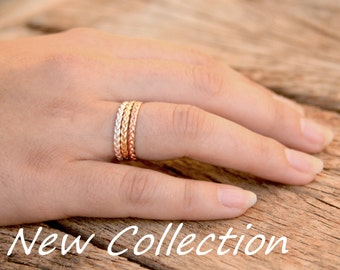 Gold stacking rings, braid stackable ring set, thin stack rings set, gold stack thin rings set, braided tri color ring, yellow white rose